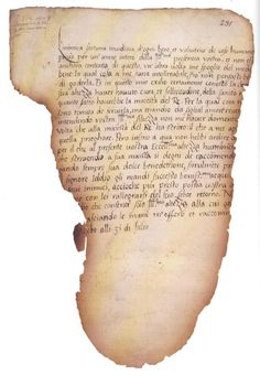 Fragment of a letter to Queen Katherine Parr from a 10-year-old Elizabeth Tudor, written in Italian.  On line five you can make out the reference to her exile from court [mio exilio].