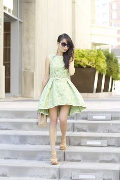 f48e1c05aa connnietang styles our Green Lace dress flawlessly. What a perfect Sunday  brunch outfit!