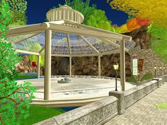 Outdoor ballroom gazebo waiting for friday ball night... in virtual reality of Second Life