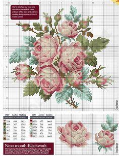 Ricamo Design Rose, Rose, ricamo a punto croce ricamo fiori rose (26)