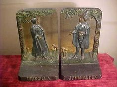 John Alden and Priscilla bookends by Bradley and Hubbard. Pilgrim lovers of early America. Polychrome finish in very nice condition, does show
