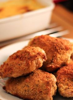 Low Fat Oven Fried Chicken - Erren's Kitchen - This recipe is a low fat oven fried chicken that's really tasty with virtually no added fat