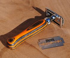 Multi Color Laminate Safety Razor Handle  by RefinedPallet on Etsy, $40.00