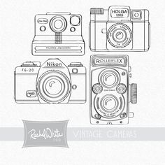 Fantastical digital stamps from my friend Rachel!  :)Vintage Cameras Digital Stamp Set - 4 stamps, 6inches, 300dpi, Rolleiflex, Holga, Polaroid, Nikon