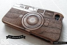 TOP-RATED SELLER: Natural Wood iPhone 4s Case - Engraved Camera iPhone Case / Leica M9, Photography, Walnut wood, Gift, Laser Engraving, Art...
