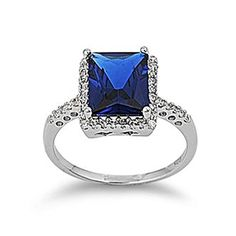 Sterling Silver Princess Cut Dark Blue Cubic Zirconia  Clear CZ Ring  size 10 ** Details can be found by clicking on the image.(This is an Amazon affiliate link and I receive a commission for the sales) #Rings