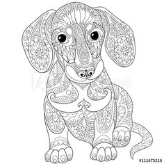Stock vector of 'Zentangle stylized cartoon dachshund dog, isolated on white background. Hand drawn sketch for adult antistress coloring page, T-shirt emblem, logo or tattoo with doodle, zentangle design elements. Dog Coloring Page, Adult Coloring Book Pages, Mandala Coloring Pages, Animal Coloring Pages, Free Coloring Pages, Printable Coloring Pages, Coloring Books, Doodle Coloring, Mandala Animals