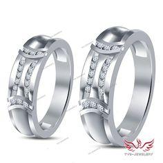 D/VVS1 Diamond Channel Setting 14k White Gold Finish Couple's Anniversary Band…