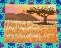 Warm/cool painting with a patterned border, in tempera. School Painting, Painting Lessons, Tempera, High School, Inspirational, Warm, Cool Stuff, Grammar School, High Schools