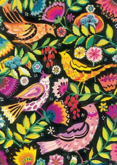 Roger la Borde | Greeting Card by Sarah Campbell #birds #flowers