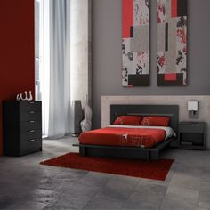 A black bedroom set with red decor. Inspired by European modernism with a touch of Asian influence. For environmental concerns, the collection is made of recycled wood and packed with a 100% recycled cardboard, without the use of foam.