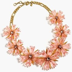 J.Crew Dahlia Necklace ($140) ❤ liked on Polyvore featuring jewelry, necklaces, j crew jewellery, plastic jewelry, flower necklace, summer necklace and floral jewelry