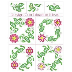 """Cutwork Floral Borders"" Give your linens, doilies and tablecloths beautifully folksy looking, cut-work borders with this floral set! Borders, corners and elements included! Looks incredible! Step on over to get yours!   #cutwork #machinecutwork #floralcutwork"