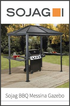 Not all gazebos are meant to cook under, but this one was made with that purpose in mind - the Sojag BBQ Messina Gazebo. Read on to find out if this summertime backyard accessory is a real sizzler or akin to a burnt brickette! Gazebo On Deck, Pergola, Hardtop Gazebo, Bbq Area, Messina, Galvanized Steel, Working Area, Good Times, Summertime