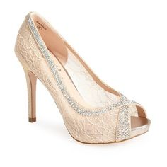 Lauren Lorraine Women's Lauren Lorraine 'Barrie' Crystal Embellished... ($93) ❤ liked on Polyvore featuring shoes, pumps, lace shoes, peep toe shoes, peeptoe shoes, peep toe pumps and nude shoes
