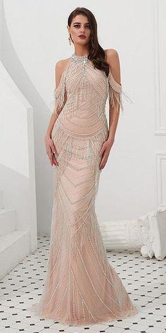 Classic High Collar Floor-length Mermaid Evening Dresses With Beadings    Beaded Chains 3362e394b06