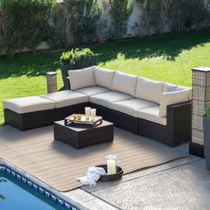Belham Living Marcella All Weather Wicker 6 Piece Sectional Set - Conversation Patio Sets at Hayneedle