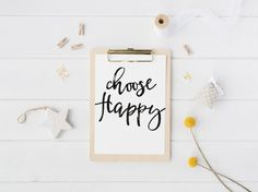 Choose Happy Sign Typography Art Print Inspirational Quote Motivational Poster Black and White Print Minimalist Home Decor