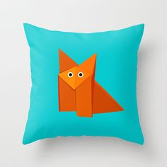 Cute Origami Fox Throw Pillow by Boriana Giormova - $20.00 #pillow #home #decor #society6