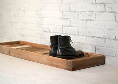 Boot Tray Made from Reclaimed Wood Shoe by signedandnumbered