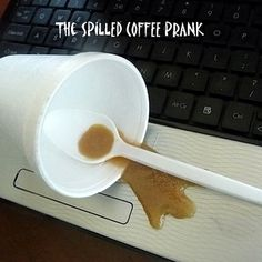 spilled coffer prank tutorial This is perfect for my TAB...they want to prank the library on April Fools!