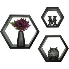 pinnacle frame 3 piece hexagallery wall decor black