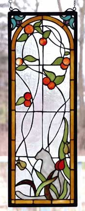 Cat+stained+glass | Stained Glass Windows, Cat, Tulip & Peaches Window by Meyda Tiffany