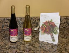 N & J's Wedding Favors and their story of making their personal wine for their wedding.  Every guest received a bottle of red or white and story-let.