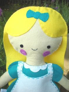 Happy Alice In Wonderland Felt Plush.
