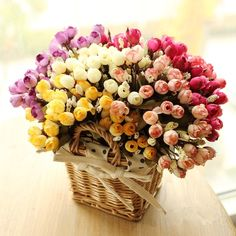 カラフルな絹の花造花15頭ミニローズ家の装飾結婚式小さなバラ花束装飾