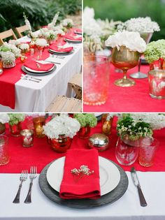 Tablescape - This is for a wedding reception. It would also make a pretty Valentine's table.