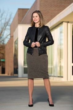 Our olive brocade pencil skirt is great for transitioning into spring. Namartin.com