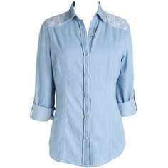 Long-sleeve chambray button-down shirt with lace detail on shoulders. Button tabs transform long sleeves to a shorter length.
