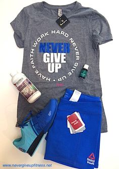 Have Faith Work Hard Never Give Up  The latest outfit pairings at Never Give Up Conditioning​ :-) Pick up your favorite Never Give Up shirt with Reebok CrossFit Nano's and Lifters. Match those with the newest Reebok CrossFit shorts :-) Grab some Bulletproof Brain Octane, Essential Oils, Caffeine and Kilos and Advocare before you leave and don't forget your Rock Tape Knee Caps!!! :-) Whatever you need for your health and fitness journey, we are here to help!