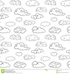Photo about Hand drawn Doodle set of different Clouds, sketch Collection vector illustration isolated on white. Illustration of climate, crayon, icon - 69516260