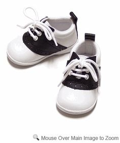 Angel Saddle Oxfords Shoes for Baby / Toddler Girls & Boys - Black & White - Birthday shoes!!! So cute