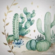 (@phenuxela) cactus watercolor painting <3 Watercolor Cactus, Watercolor Paintings, White Ink, Animal Paintings, Cactus Plants, My Drawings, Nature, Animals, Inspiration