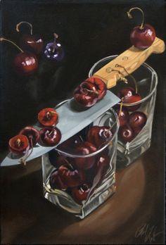 Sliced Black Cherries Original Oil Painting by RickLiebenowArt, $350.00