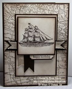 The Open Sea and World Map Stamp Sets. Early Espresso, Very Vanilla. Linen Ribbon and Early Espresso Grosgrain Ribbon. Sponging with Soft Suede Ink