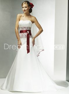 Glamorous Lace Covered Red Band Chapel Train Strapless Wedding Dresses