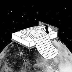 Illustration by Henn Kim - Healing night, tomorrow will be better. Tom Bagshaw, Henn Kim, Black Art, Black And White, White Pen, Arte Peculiar, Sad Art, Digital Art Girl, Framed Art Prints