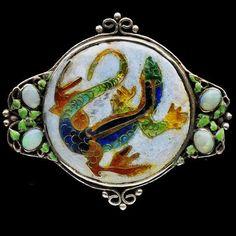 Silver, enamel, and opal  brooch by Harold Stabler - c.
