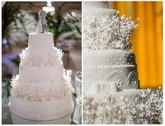 Bolo fake para casamento com poás e laços de Maria Amélia Bolos & Doces - Foto Alexsander Muradas Photo
