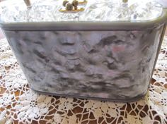 Vintage Grey Swirl Lucite and Metal Purse by JGallegosArt on Etsy, $70.00