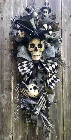 A personal favorite from my Etsy shop https://www.etsy.com/listing/542323624/mr-bones-wreath-skeleton-wreath