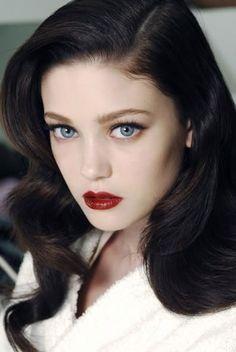 Gwen black hair fair skin blue doe eyes - All For Hair Color Trending Hair Fair, Doe Eyes, 1940s Hairstyles, Hairstyles Haircuts, Wedding Hairstyles, Hair Color Blue, Hair Colors For Blue Eyes, Eye Color, Vintage Makeup