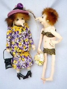 """Tillie & Tessa  Delightful 10"""" pindolls with loads of attitude.  Cloth Doll Patterns by  Slightly Weathered Ladies  and More by Jill Maas"""