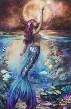 "mixed media on mylar mounted wood 24"" x 36"" This piece is inspired by the enchanting, otherworldly beauty of the Siren, known in some cultures as the mermaid, w"