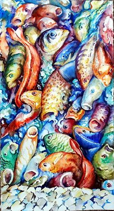 Fish Frenzy II, Wash.DC by Rod Cook Watercolor ~ 22.5 x 12