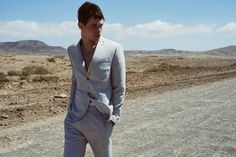 Donning a slim-fit suit in grey, Luka Isaac connects with Reserved for summer. Summer Campaign, Giorgio Armani, Mens Suits, Blazer, Model, How To Wear, Jackets, Collection, Slim